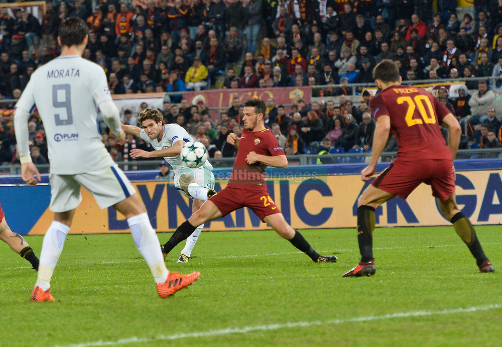 October 31, 2017 - Rome, Italy - Alessandro Florenzi and Marcos Alonso during the Champions League football match A.S. Roma vs Chelsea Football Club at the Olympic Stadium in Rome, on october 31, 2017. (Credit Image: © Silvia Lore/NurPhoto via ZUMA Press)