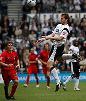 Photo: Steve Bond.<br /> Derby County v Coventry City. Coca Cola Championship. 09/04/2007. Steve Howard wins an aeriel ball