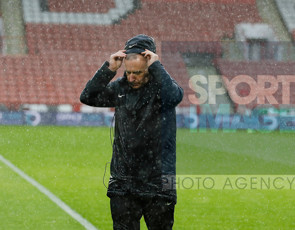 Referee Jonathan Moss inspects the pitch during the Premier League match at Bramall Lane, Sheffield. Picture date: 9th February 2020. Picture credit should read: Simon Bellis/Sportimage