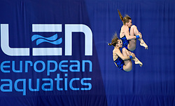 Russia's Ekaterina Beliaeva and Iuliia Timoshinina during the Women's Synchronised 10m Platform Final during day six of the 2018 European Championships at Scotstoun Sports Campus, Glasgow. PRESS ASSOCIATION Photo. Picture date: Tuesday August 7, 2018. See PA story DIVING European. Photo credit should read: Ian Rutherford/PA Wire. RESTRICTIONS: Editorial use only, no commercial use without prior permission