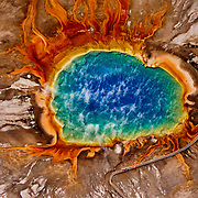 Aerial view of Grand Prismatic Hot Spring in Yellowstone National Park, WY.