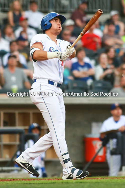 Amarillo Sod Poodles infielder Brad Zunica (41) hits his second home run of the game against the Midland Rockhounds during Opening Night on Tuesday, April 9, 2019, at HODGETOWN in Amarillo, Texas. [Photo by John Moore/Amarillo Sod Poodles]