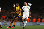 Alex Iwobi of Arsenal & Marek Suchy of FC Basel challenge for the ball. UEFA Champions league group A match, Arsenal v FC Basel at the Emirates Stadium in London on Wednesday 28th September 2016.<br /> pic by John Patrick Fletcher, Andrew Orchard sports photography.