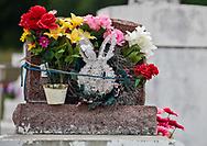 A tomb with Easter decorations in Bisland Cemetery in Terrebonne Parrish