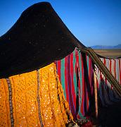 Colourful detail of fabric of nomad tent Sahara desert, near Zagora, Morocco
