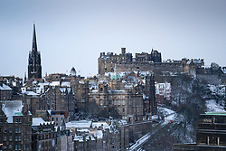 Edinburgh, Scotland, UK. 9 Feb 2021. Big freeze continues in the UK with Storm Darcy bringing several inches of snow to Edinburgh overnight. Pic;Viewof Old town and Edinburgh Castle.  Iain Masterton/Alamy Live news