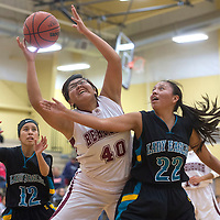 Rehoboth Lynx Rachel Martin (40) reaches for a rebound while being guarded by Navajo Prep Eagles Taina Sandoval (12) and Rainie Jones (22) Tuesday in Rehoboth.