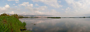 Israel, Upper Galilee, Hula Valley, Panoramic view of Agamon Lake