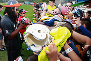 January 28 2016: Seattle Seahawks corner Richard Sherman signs autographs after the Pro Bowl practice at Turtle Bay Resort on North Shore Oahu, HI. (Photo by Aric Becker/Icon Sportswire)