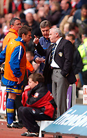 Photo. Richard Lane<br />Southampton v Leeds United. Barclaycard Premiership 19/04/2003.<br />Peter Reid give the instructions to Nick Barmby before coming on and scoring.