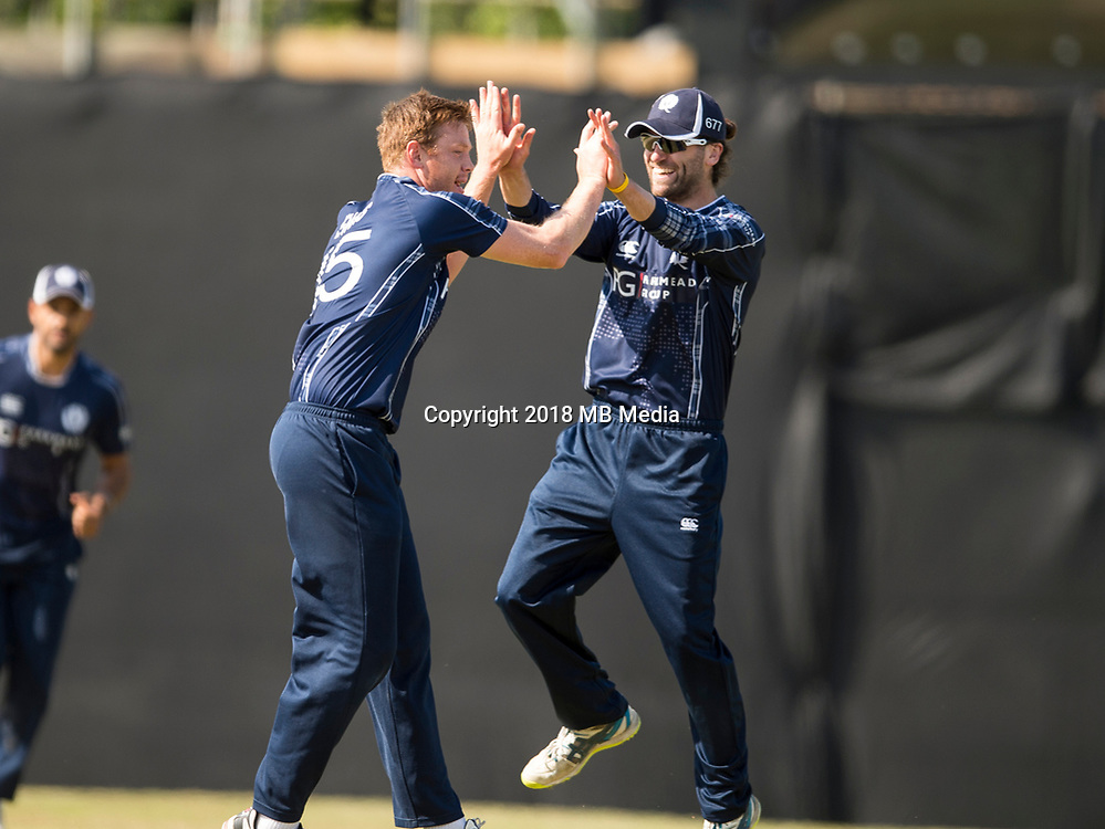 EDINBURGH, SCOTLAND - JUNE 12: Scotland players  celebrate during the International T20 Friendly match between Scotland and Pakistan at the Grange Cricket Club on June 12, 2018 in Edinburgh, Scotland. (Photo by MB Media/Getty Images)