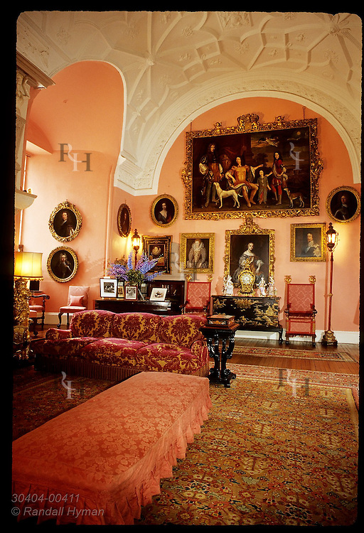 Drawing Room in Glamis Castle, where Queen Mother played as child, was remodeled in 17th century; Glamis, Angus, Scotland.