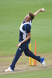 England's Jake Ball bowls during the nets session at Cardiff Wales Stadium.