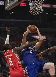 October 21, 2018 - Los Angeles, California, U.S - Danilo Gallinari #8 of the Los Angeles Clippers is fouled as he drives to the basket by James Ennis III #8 of the Houston Rockets during their NBA game on Sunday October 21, 2018 at the Staples Center in Los Angeles, California. (Credit Image: © Prensa Internacional via ZUMA Wire)