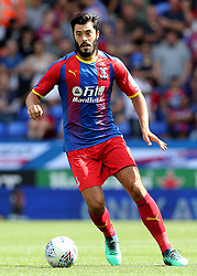 """Crystal Palaces James Tomkins during the pre-season friendly match at the Madejski Stadium, Reading. PRESS ASSOCIATION Photo. Picture date: Saturday July 28, 2018. See PA story SOCCER Reading. Photo credit should read: Mark Kerton/PA Wire. RESTRICTIONS: EDITORIAL USE ONLY No use with unauthorised audio, video, data, fixture lists, club/league logos or """"live"""" services. Online in-match use limited to 75 images, no video emulation. No use in betting, games or single club/league/player publications."""