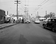 """ackroyd_05076-5.  """"Accident. St. Johns on N. Jersey & Charlston. Ford & Plymouth. March 25, 1954"""""""