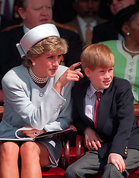 """File photo dated 7/5/1995 of Princess of Wales with her younger son Prince Harry. The Duchess of Sussex gave birth to a 7lb 11oz daughter, Lilibet """"Lili"""" Diana Mountbatten-Windsor, on Friday in California and both mother and child are healthy and well, Meghan's press secretary said. Issue date: Sunday June 6, 2021."""