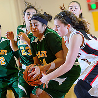 121313  Adron Gardner/Independent<br /> <br /> Jemez Valley Warrior Kateri Gaushupin (14) ties up with Grants Pirate Haley Hall (21) during the Eddie Peña Classic in Grants Friday.