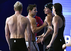 August 6, 2018 - Glasgow, UNITED KINGDOM - Belgian swimmer Basten Caerts, Belgian swimmer Emmanuel Vanluchene, Belgian swimmer Juliette Dumont and Belgian swimmer Kimberly Buys react after the heats of 4x100m medley relay mixed swimming event at the European Championships, in Glasgow, Scotland, Monday 06 August 2018. European championships of several sports are held in Glasgow from 03 to 12 August. BELGA PHOTO ERIC LALMAND (Credit Image: © Eric Lalmand/Belga via ZUMA Press)
