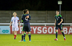 BANGOR, WALES - Saturday, November 12, 2016: Wales' captain Tyler Roberts, Rhyle Ovenden and Cameron Coxe celebrate their side's 3-2 victory over England during the UEFA European Under-19 Championship Qualifying Round Group 6 match at the Nantporth Stadium. (Pic by Gavin Trafford/Propaganda)
