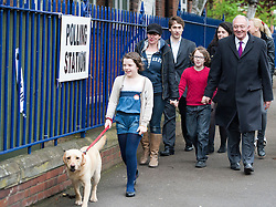 © London News Pictures. 03/05/2012. London, UK. L to R Front -COCO (dog), MIA (daughter), EMMA BEAL (wife) THOMAS (son) and Labour Mayoral candidate KEN LIVINGSTONE arriving at his local polling station with his family and campaign team at Nora Primary School in Cricklewood, London to vote in the 2012 London mayoral elections on May 3, 2012. Photo credit: Ben Cawthra/LNP