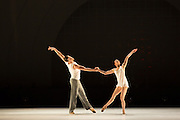 "Alexander Hille and Celine Cassone of Les Ballets Jazz de Montréal in Benjamin Millepied's ""Closer""."