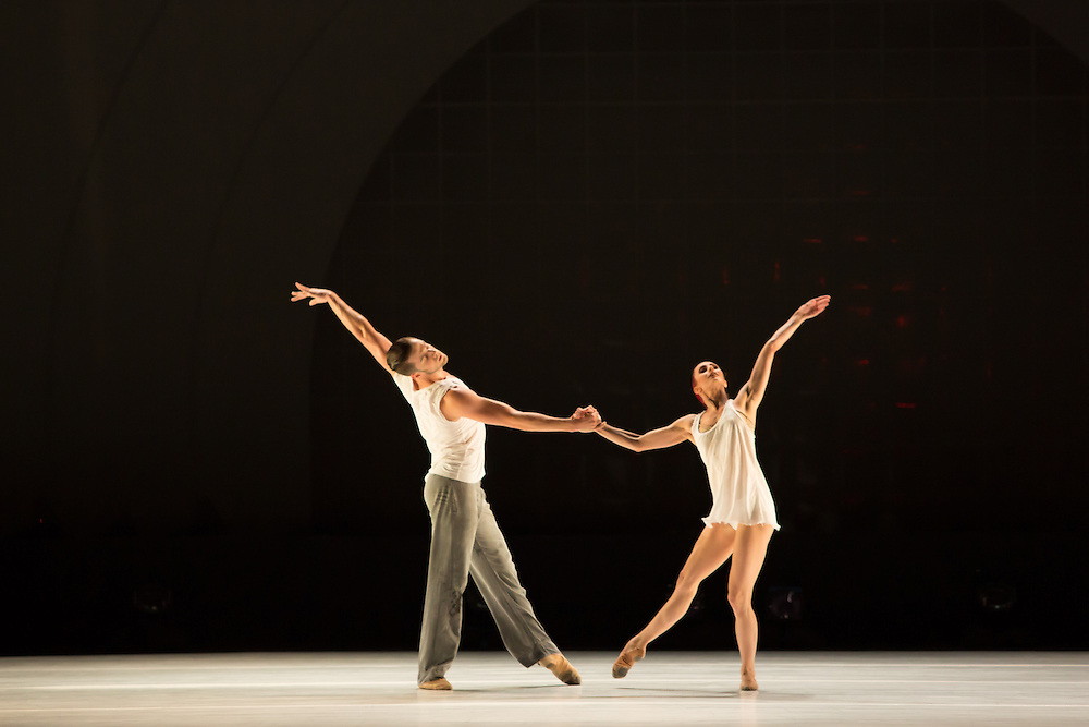 "Alexander Hille and Celine Cassone of Les Ballets Jazz de Montréal in Benjamin Millepied's ""Closer""."