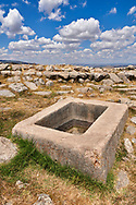 Water storage vessel of Temple I, Hattusa (also Ḫattuša or Hattusas) late Anatolian Bronze Age capital of the Hittite Empire. Hittite archaeological site and ruins, Boğazkale, Turkey.