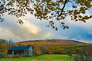 Farm and Mount Monadnock, October, Cheshire County, New Hampshire, USA