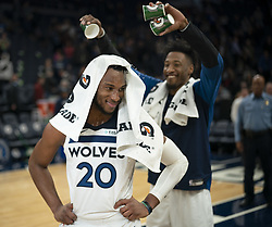 December 17, 2018 - Minneapolis, MN, U.S.A - Josh Okogie turned to look back at his Timberwolves teammate Robert Covington after receiving a mini-Gatorade shower from him while he was being interviewed by Fox Sports North's Marney Gellner after the game.     ]  JEFF WHEELER • jeff.wheeler@startribune.com ....The Minnesota Timberwolves defeated the Sacramento Kings 132-105 in an NBA basketball game Monday night, December 17, 2018 at Target Center in Minneapolis. (Credit Image: © Jeff Wheeler/Minneapolis Star Tribune via ZUMA Wire)