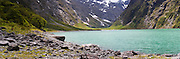Panoramic view of Lake Marian, an alpine lake in the Darran Mountains, Fiordland National Park, Southland, New Zealand