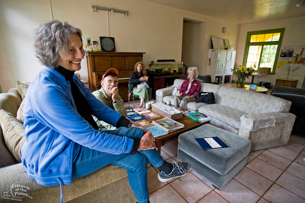 From 2008. Lois Arkin, founder of LA Eco-Village, greet visitors and potential Eco-Villagers for tour.