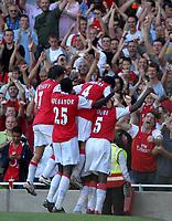 Photo: Ed Godden.<br />Arsenal v Sheffield United. The Barclays Premiership. 23/09/2006. Arsenal players celebrate William Gallas' goal.