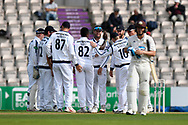 Wicket - Fidel Edwards of Hampshire celebrates taking the wicket of Scott Borthwick of Surrey who is given out during the Specsavers County Champ Div 1 match between Hampshire County Cricket Club and Surrey County Cricket Club at the Ageas Bowl, Southampton, United Kingdom on 6 September 2017. Photo by Graham Hunt.