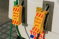 Petrol pumps with no fuel during petrol shortage,