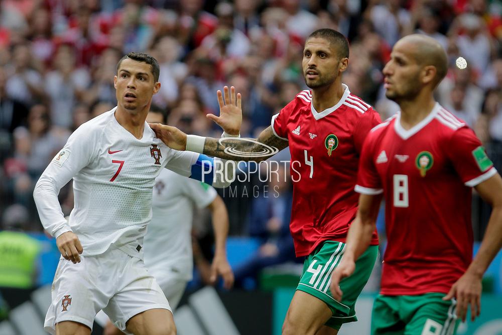 Cristiano Ronaldo of Portugal, Manuel Da Costa, Karim El Ahmadi of Morocco during the 2018 FIFA World Cup Russia, Group B football match between Portugal and Morocco on June 20, 2018 at Luzhniki stadium in Moscow, Russia - Photo Thiago Bernardes / FramePhoto / ProSportsImages / DPPI