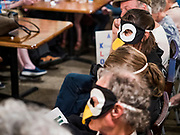 25 MAY 2019 - IOWA FALLS, IOWA: Climate change activists dressed as penguins at a campaign event for Sen. Amy Klobuchar in Iowa Falls. Sen. Klobuchar is touring Iowa this weekend to support her bid for the Democratic nomination of for the US Presidency. Iowa traditionally hosts the the first election event of the presidential election cycle. The Iowa Caucuses will be on Feb. 3, 2020.         PHOTO BY JACK KURTZ