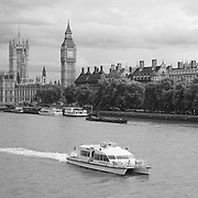 River Thames View Of Parliment - London, UK - Black & White