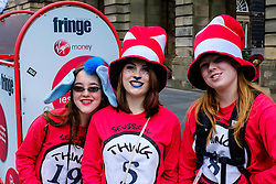 Edinburgh Scotland 7th August 2016 :: Performers from Fringe shows entertain in the High Street to promote their shows.<br /> <br /> Pictured: three performers from Seussical the Musical<br /> <br /> (c) Andrew Wilson   Edinburgh Elite media
