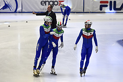 February 8, 2019 - Torino, Italia - Foto LaPresse/Nicolò Campo .8/02/2019 Torino (Italia) .Sport.ISU World Cup Short Track Torino - 5000 meter Men Relay Quarterfinals.Nella foto: una parte della squadra italiana (Tommaso Dotti, Mattia Antonioli, Yuri Confortola)..Photo LaPresse/Nicolò Campo .February 8, 2019 Turin (Italy) .Sport.ISU World Cup Short Track Turin - 5000 meter Men Relay Quarterfinals.In the picture: a part of italian team  (Credit Image: © Nicolò Campo/Lapresse via ZUMA Press)