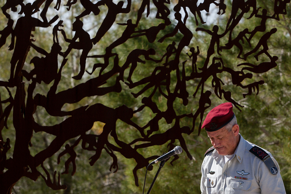 Israeli Chief of Staff, Lieutenant-General Benny Gantz speaks during a memorial ceremony, ahead of the annual Holocaust Remembrance Day, at the Yad Vashem Holocaust museum in Jerusalem, on April 3, 2013.