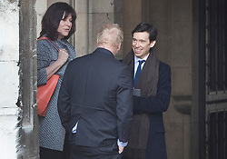 © Licensed to London News Pictures. 03/04/2019. London, UK. Energy Minister Claire Perry talks with Boris Johnson and Prisons Minister Rory Stewart in Parliament before Prime Minister's Questions. Mrs May has called for talks with Labour Party Leader Jeremy Corbyn to seek a way forward with the Brexit deadlock. Photo credit: Peter Macdiarmid/LNP