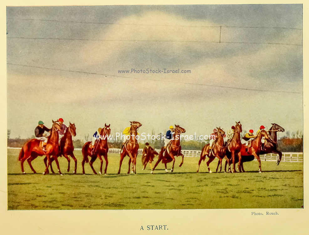A Horse Race Start From the book ' English sport ' by Alfred Edward Thomas Watson, Published in London by Macmillan and Co. Limited and in New York by Macmillan Company. in 1903