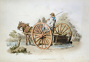 Watering cart for laying dust on roads. From William Henry Pyne 'Costume of Great Britain', London 1808. Aquatint. Colour