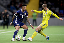 Scotland's Liam Palmer (left) in action during the UEFA Euro 2020 Qualifying, Group I match at the Astana Arena.