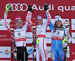 19.02.2011, Gudiberg, Garmisch Partenkirchen, GER, FIS Alpin Ski WM 2011, GAP, Damen, Slalom, im Bild Winners Presentation v.l. Silber Medaille Kathrin Zettel (AUT), Gold Medaille und Weltmeister Marlies Schild (AUT) und Bronze Medaille Maria Pietilae-Holmner (SWE) // Winners Presentation v.l. silver medal Kathrin Zettel (AUT), Gold Medal and World Champion Marlies Schild (AUT) and bronze Medal Maria Pietilae-Holmner (SWE) during Ladie's Slalom Fis Alpine Ski World Championships in Garmisch Partenkirchen, Germany on 19/2/2011. EXPA Pictures © 2011, PhotoCredit: EXPA/ M. Gunn