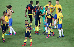 RIO DE JANEIRO, Jan. 26, 2017  Players of both teams greet each other after their friendly match at the Engenhao Stadium in Rio de Janeiro, Brazil, Jan. 25, 2017. All the net income of the match will be passed on to the Chapecoense Football Association. (Credit Image: © Li Ming/Xinhua via ZUMA Wire)