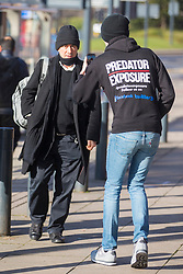 © Licensed to London News Pictures. 09/03/2018. Leeds UK. Irish Tv presenter Kieran Creaven is filmed by a member of Predator Exposure as he arrives at Leeds Crown Court this morning where he is due to be sentenced for sex offences. Creaven travelled to England to meet what he thought was a 13 year old girl but was instead met by a group called Predator Exposure. On December 18th 2017, Kieran Creaven (55) from Dublin pleaded guilty to a charge of attempting to meet a girl under the age of 16 years of age following grooming. Creaven also pleaded guilty to a second charge of attempting to cause or incite a girl aged between 13 and 15 to engage in non-penetrative sexual activity. Photo credit: Andrew McCaren/LNP
