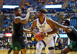 Jan 21, 2019; Morgantown, WV, USA; West Virginia Mountaineers forward Derek Culver (1) makes a move and shoots during the second half against the Baylor Bears at WVU Coliseum. Mandatory Credit: Ben Queen-USA TODAY Sports