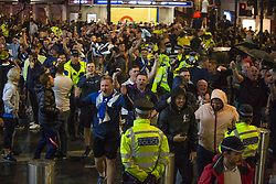© Licensed to London News Pictures.  18/06/2021. London, UK. Scottish football supporters gather at Leicester Square, central London after their EURO 2020 match against England at Wembley tonight. Photo credit: Marcin Nowak/LNP